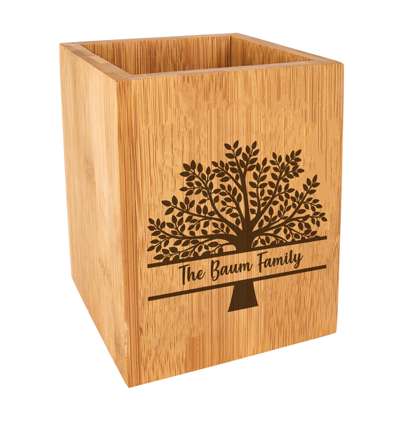 Personalized Family Tree Kitchen Utensil Holder Bamboo Wood Baum Designs