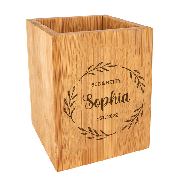 Personalized Wreath Kitchen Utensil Holder Bamboo Wood Baum Designs