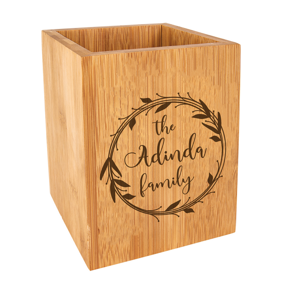Personalized Wreath Family Kitchen Utensil Holder Bamboo Wood Baum Designs