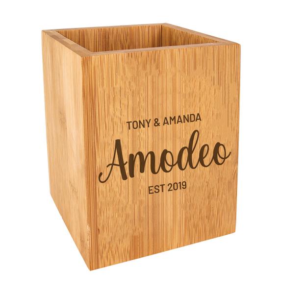 Personalized Kitchen Utensil Holder Bamboo Wood Baum Designs