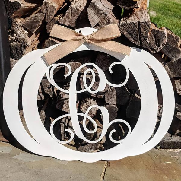 Monogram Pumpkin Door Hanger Sign Wood Or Metal Baum Designs