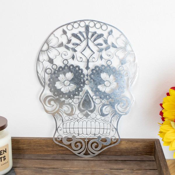 Sugar Skull Metal Sign Baum Designs