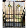 G18015 - Pair of Antique Stained & Clear Glass Arts & Crafts Windows