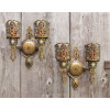 L18174 -  Pair of Antique Cast Bronze Tudor Revival Style Candle Sconces
