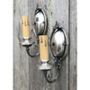 L19025 - Pair of Distressed Silver Plated Candle Sconces
