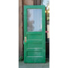 "D19088 - Antique Exterior Painted Pine Paneled Door with Partial Glass 30"" x 79-3/4"""