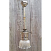 "L19195 - Antique Revival Period Nickel Pendant Fixture with Ruffled Prismatic ""Holophane"" Shade"