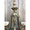 L20086 - Antique Beaux Arts Four Arm Hanging Fixture with Alabaster Shades
