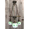 L20148 - Antique Brass Three Light Fixture with Cased Shades