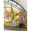 Vase and Floral Arch Top Leaded Glass Window