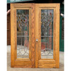 """D21059 - Pair of Antique Oak Miracle Doors with Beveled Glass 60"""" x 79-1/4"""""""