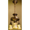 L11322 - Antique Three Arm Light Fixture with Lustre Art Glass Shades