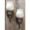 L11345 - Pair of Antique Colonial Revival Wall Sconces with Steuben Art Glass Shades