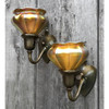 L14300 - Pair of Antique Arts and Crafts Sconces with Art Glass