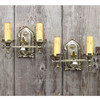 L14318 - Antique Pair of Tudor Revival Double Arm Candle Sconces