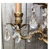 L17086 - Vintage Cast Brass & Crystal Three Arm Candle Sconce