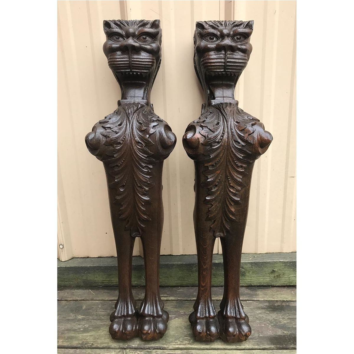 A17125 - Pair of Antique Quartersawn Oak Carved Griffins