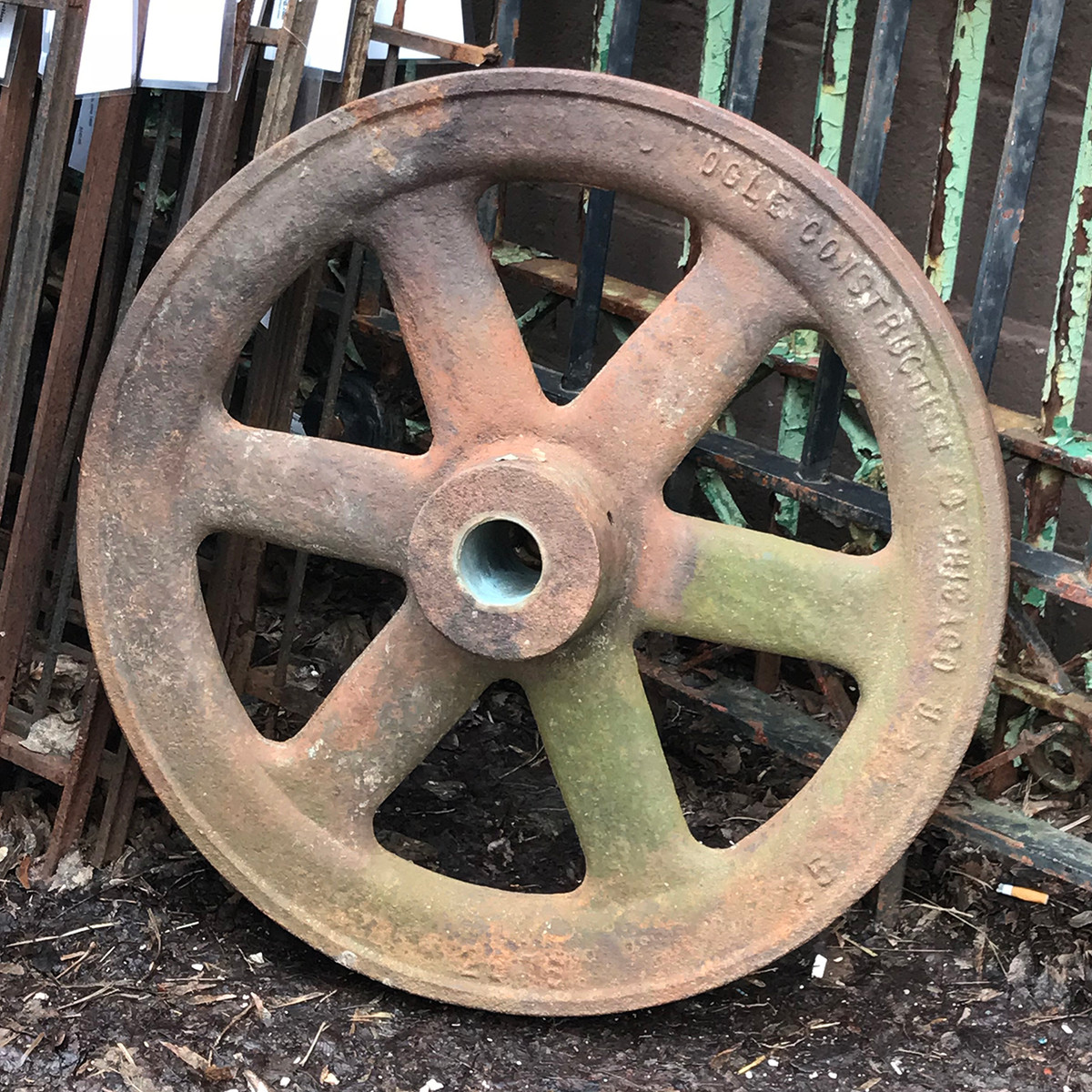 A18015 - Antique Cast Iron Factory Pulley Wheel