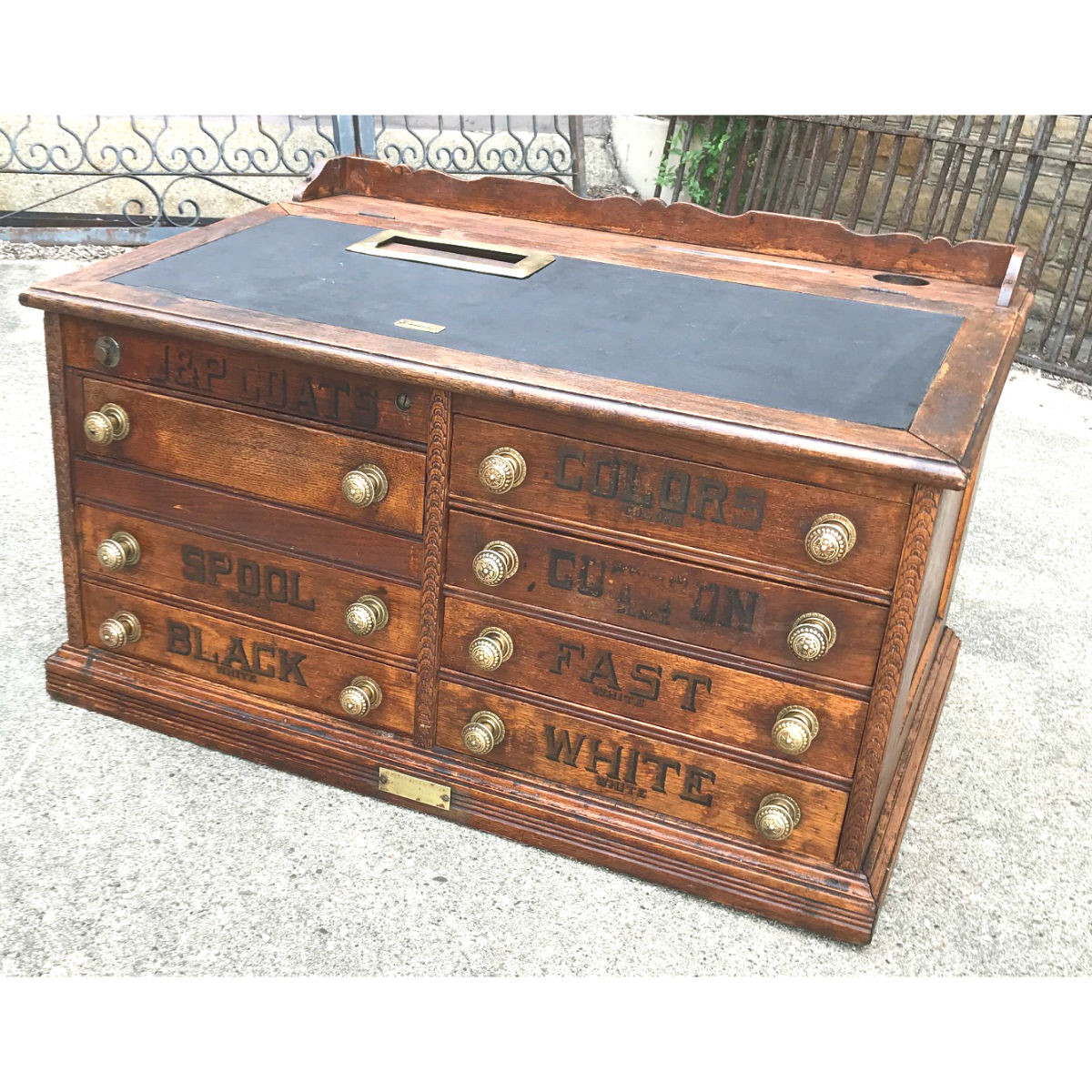 - F18054 - Antique Late Victorian Combination Cash Register Spool Cabinet