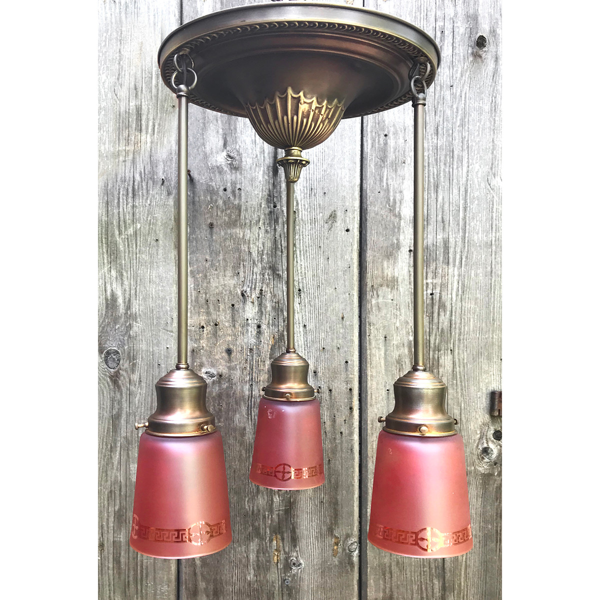 L18085 - Antique Three Light Ceiling Fixture with Carnival Glass