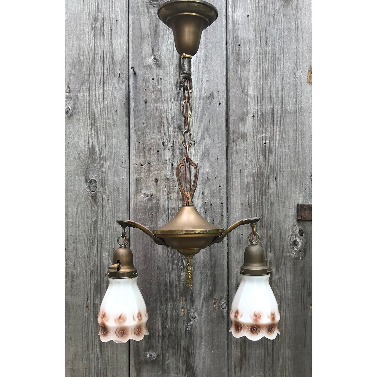 L18086 - Antique Two Light Ceiling Light Fixture