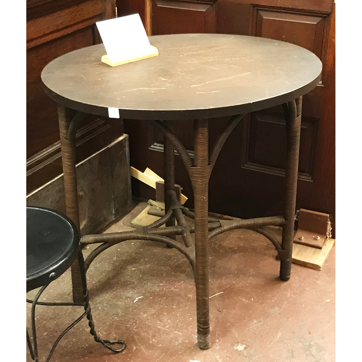 F18115 - Antique Wicker and Oak Side Table