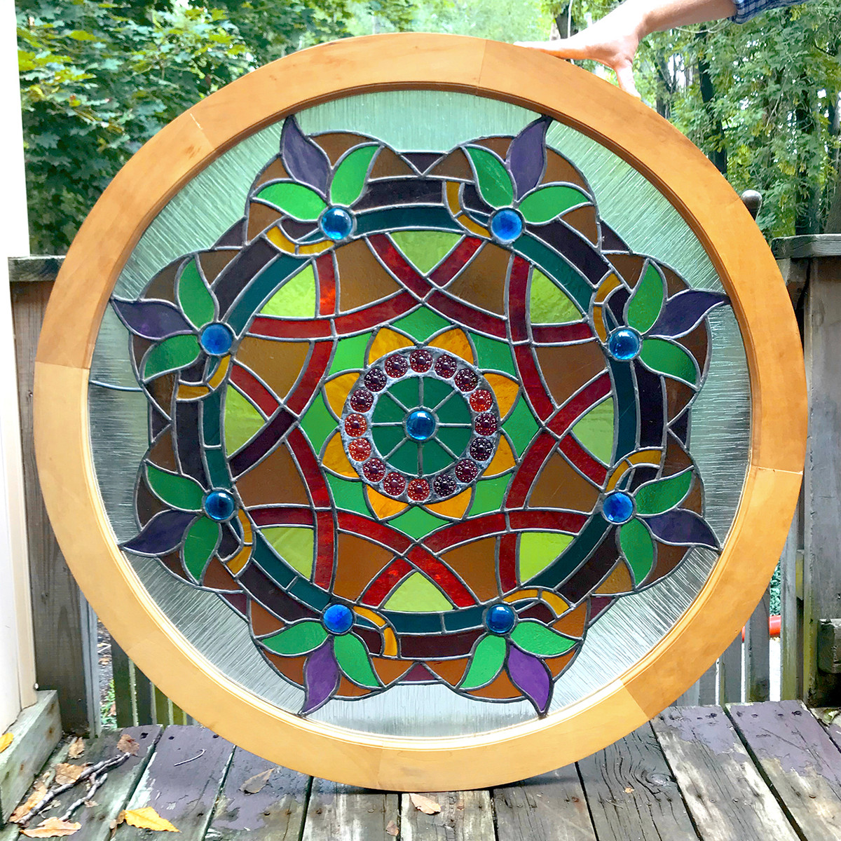 G18073 - Antique Circular Stained Glass Window