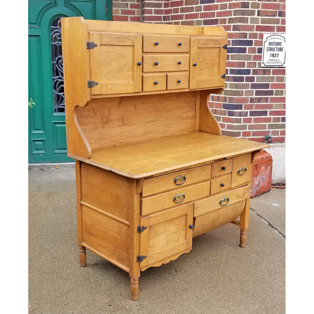 F18127 - Antique Maple Bakers Cupboard