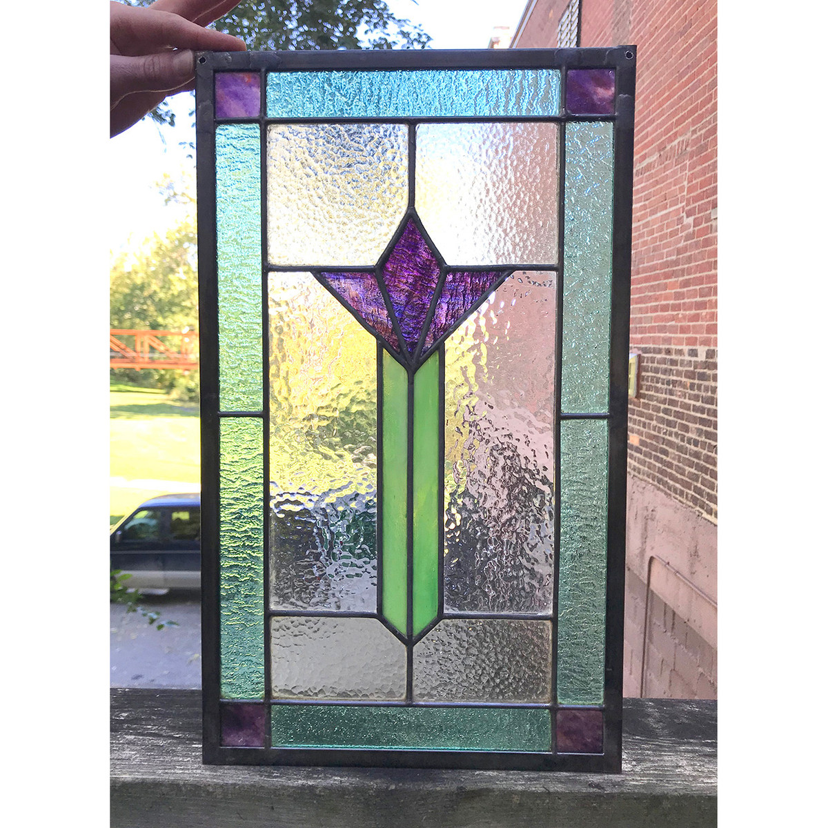 G18078B - Antique Arts and Crafts Stained Glass Window