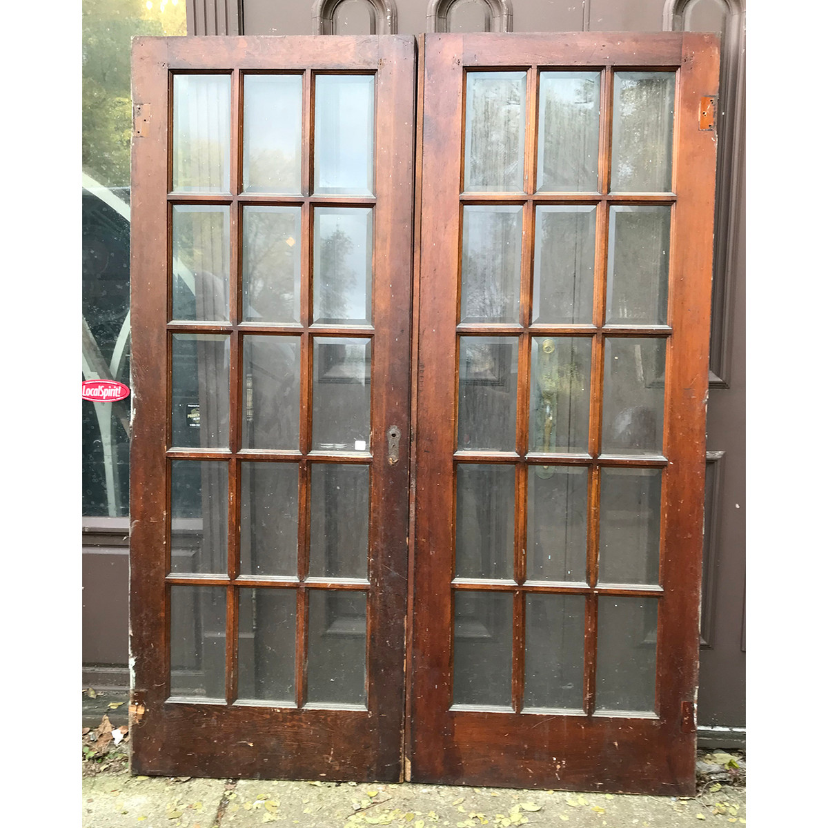 D18185 - Pair of Antique Pine Interior/Exterior Beveled Glass French Doors  60-3/4