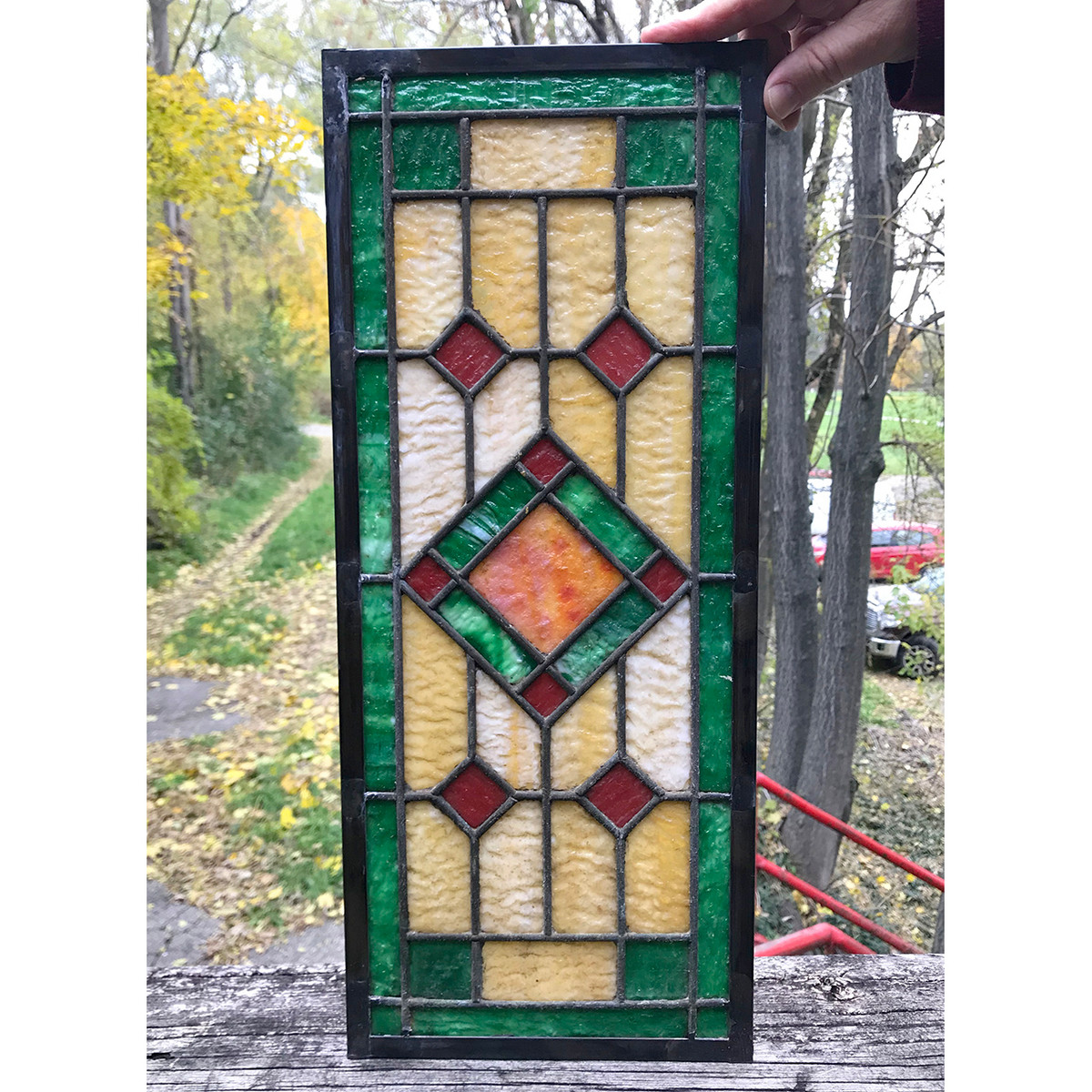 G18083B - Antique Arts & Crafts Stained Glass Window