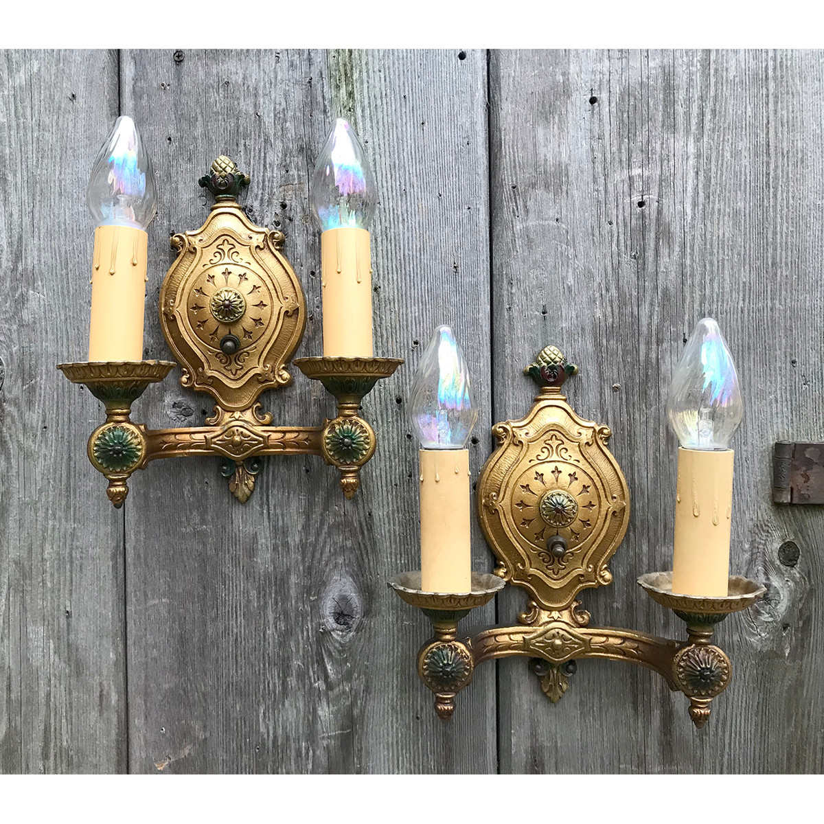 L18171 - Pair of Antique Tudor Revival Double Arm Candle Sconces