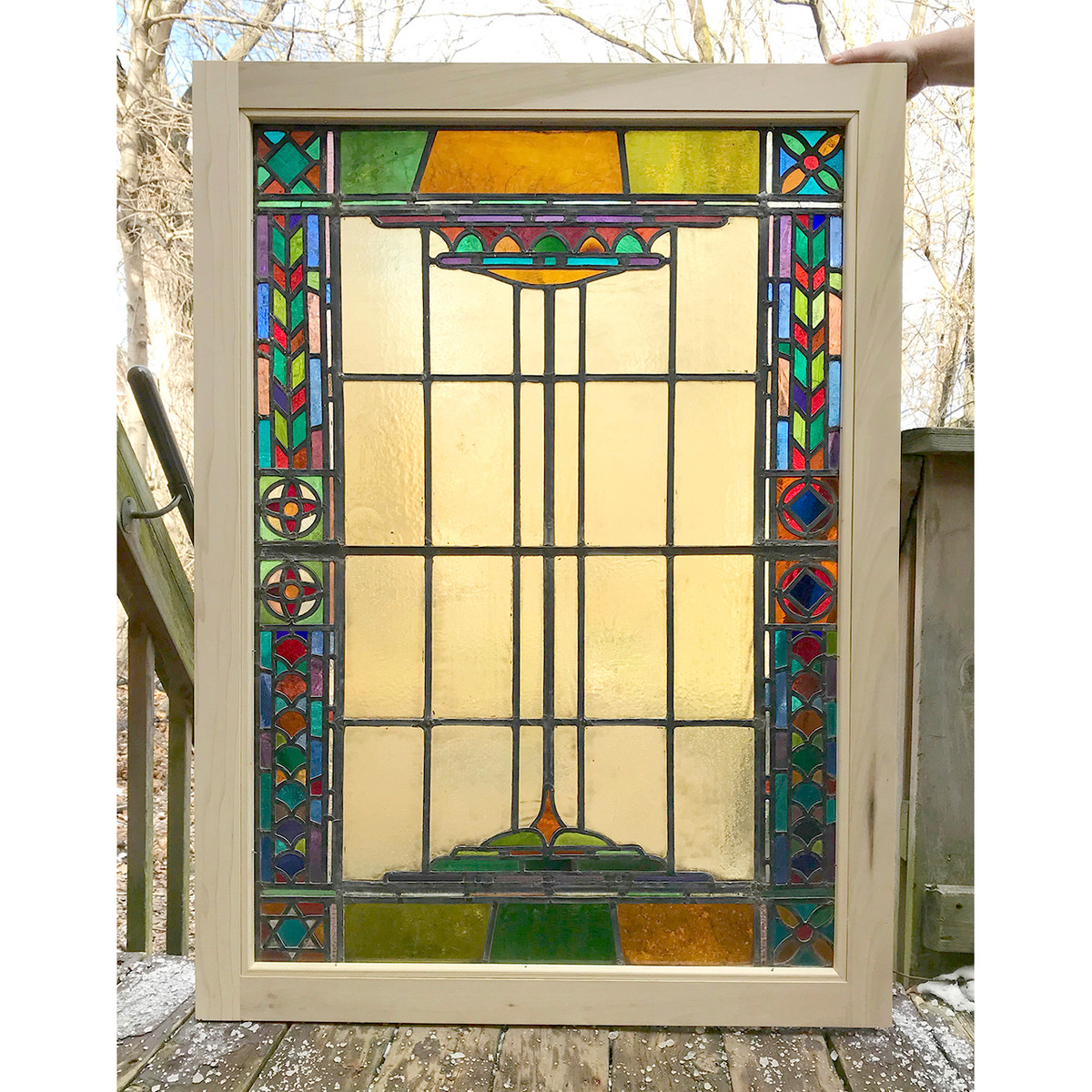Large Stained Glass Window.G19001 Antique Stained Glass Window