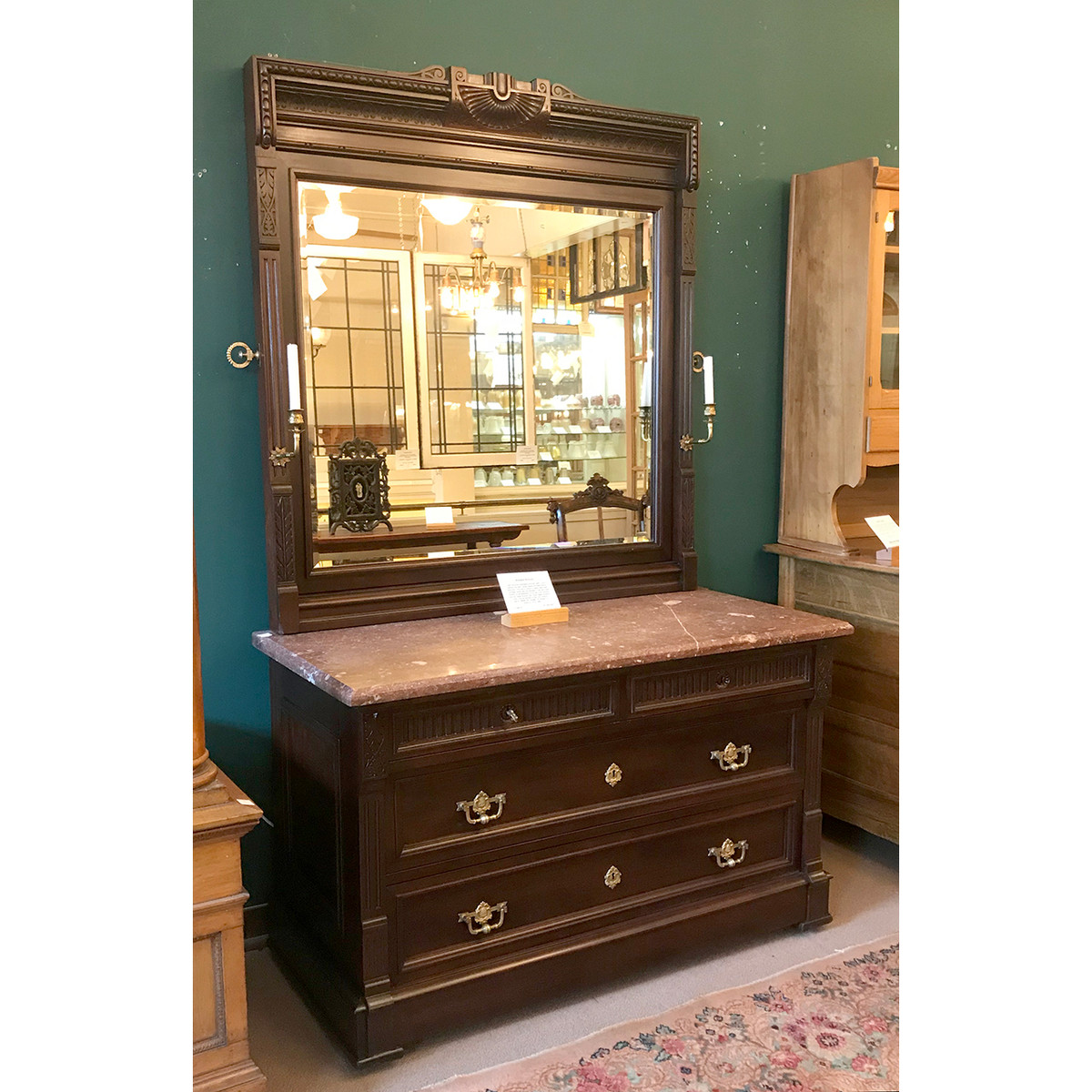 F19018 - Antique Late Victorian Mahogany Dresser with Marble Top and Beveled Mirror