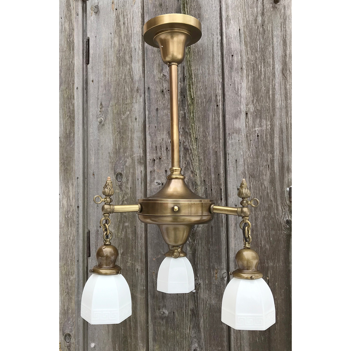L19021 - Antique Colonial Revival Three Light Hanging Fixture