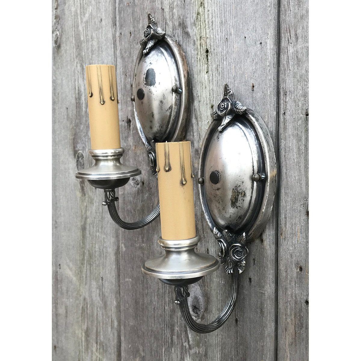 best service 176ae 87a6d L19025 - Pair of Distressed Silver Plated Candle Sconces