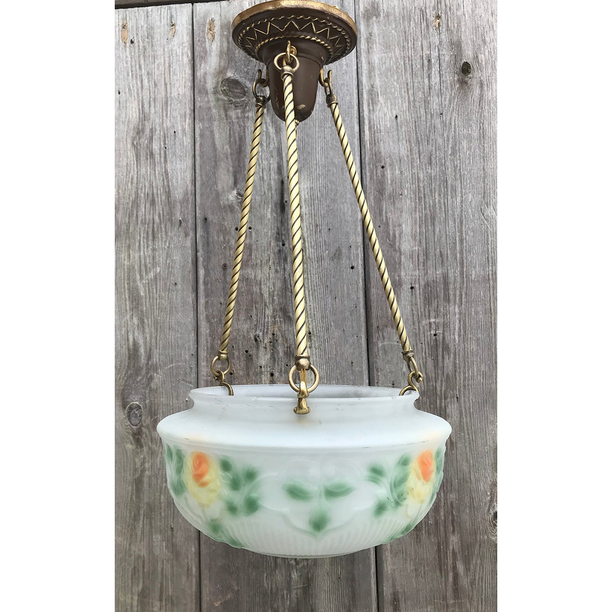 L19041 - Antique Reverse Painted Bowl Fixture