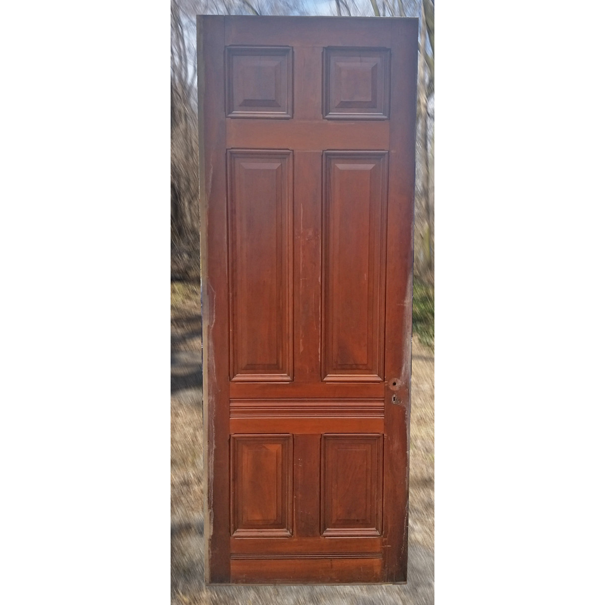 "D19029 - Antique Victorian Six Panel Cherry Door 35-7/8"" x 96"""