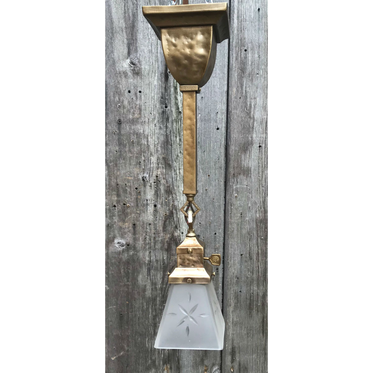 L19117 - Custom Hand Hammered Brass Mission Style Pendant Fixture