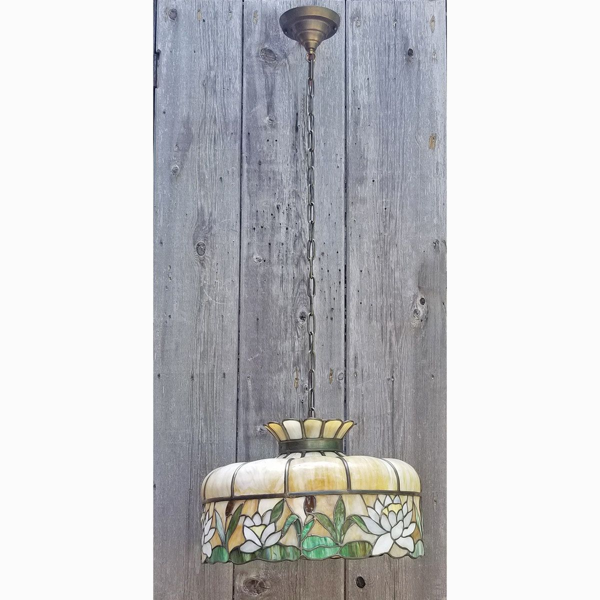L19153 - Antique Leaded Glass Lamp Shade