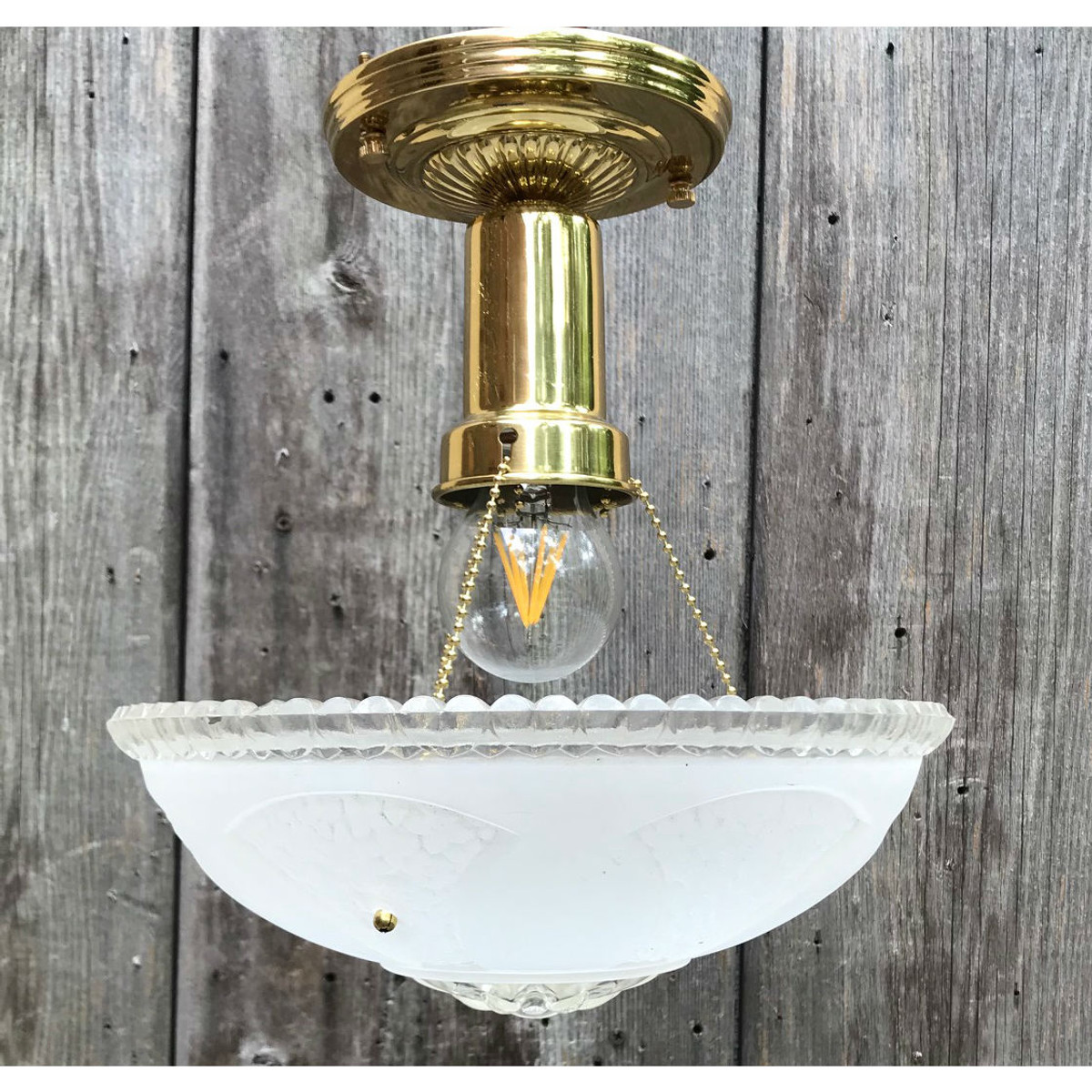 L19159 - Art Moderne Ceiling Light Fixture With Antique Bowl Shade