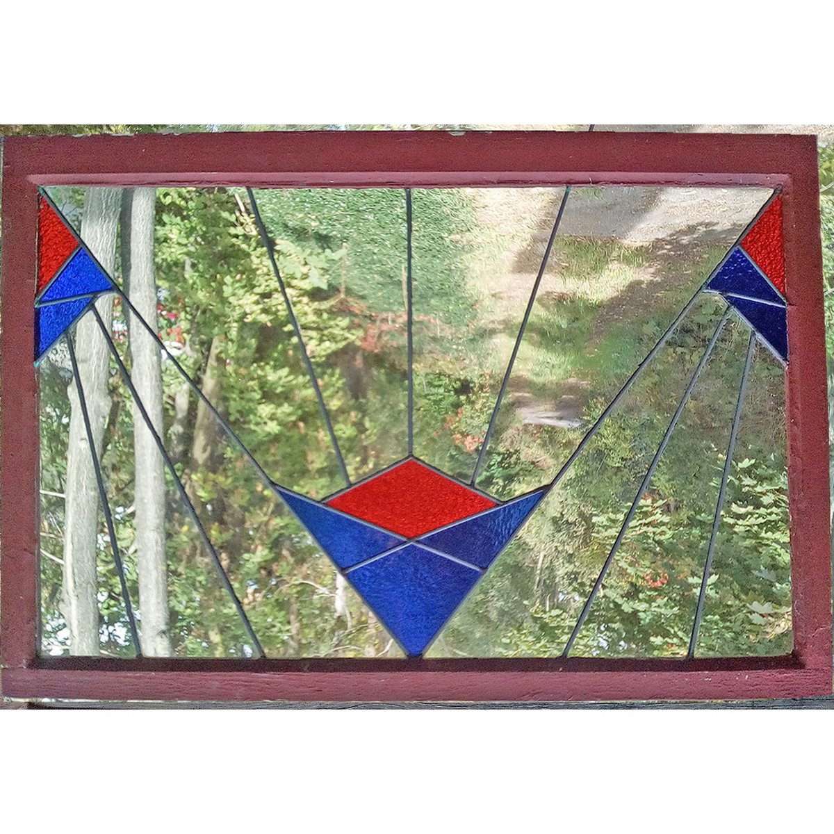 G19130 - Antique Arts and Crafts/Art Deco Stained Glass Window