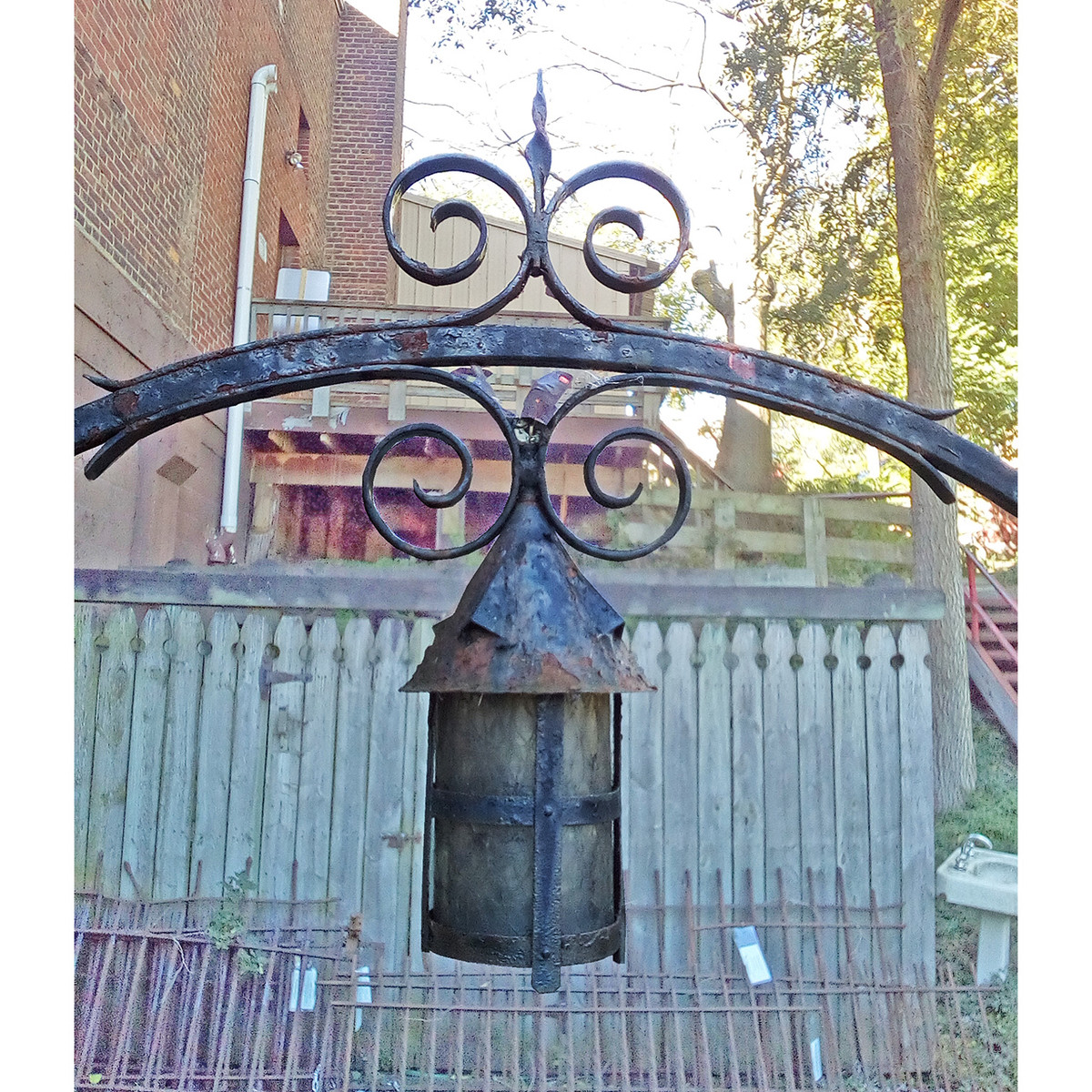 L19174 - Antique Wrought Iron Arch With Central Lantern Fixture