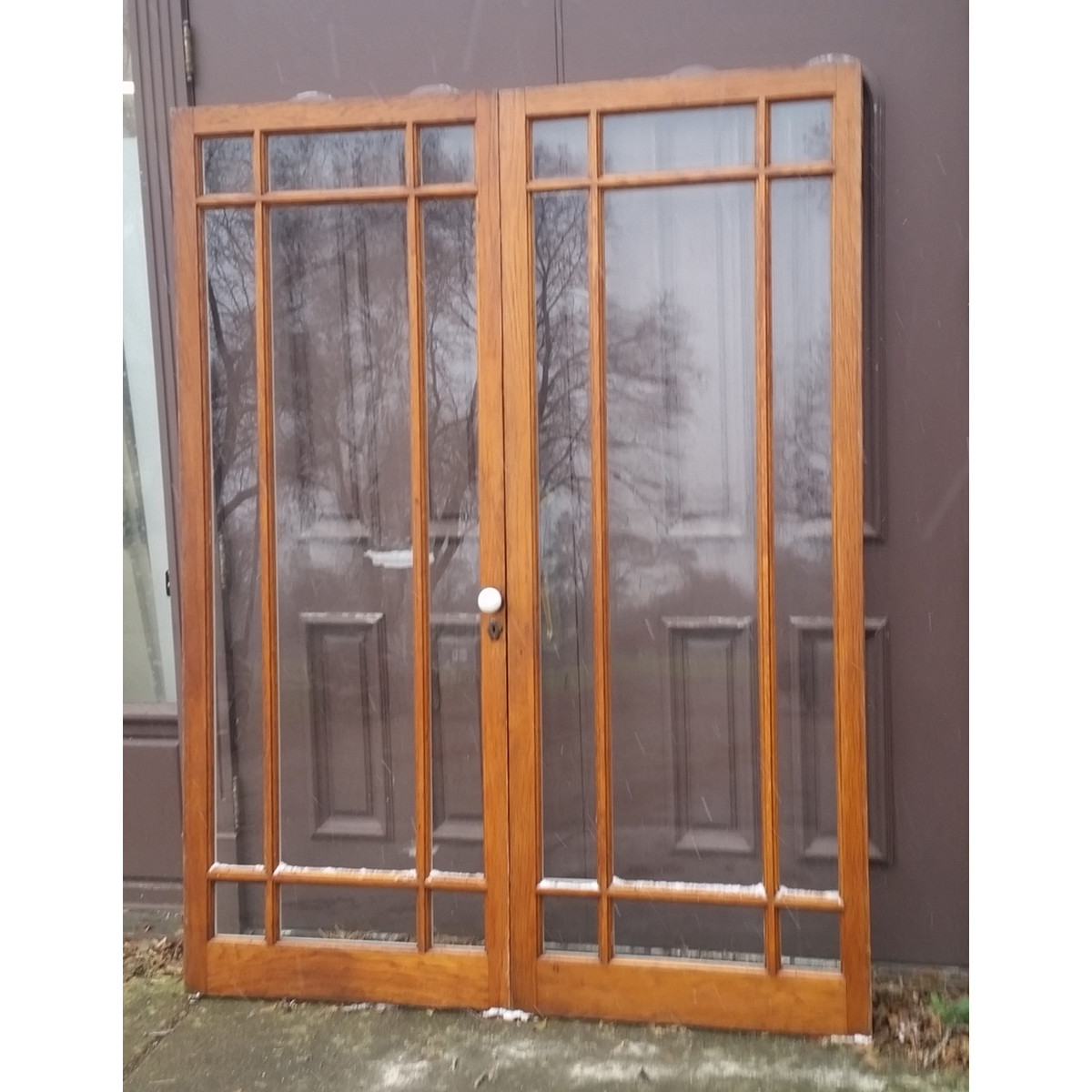 "D19117B - Pair of Antique Oak 9 Light Marginal French Doors 64-1/4"" x 83-3/4"""