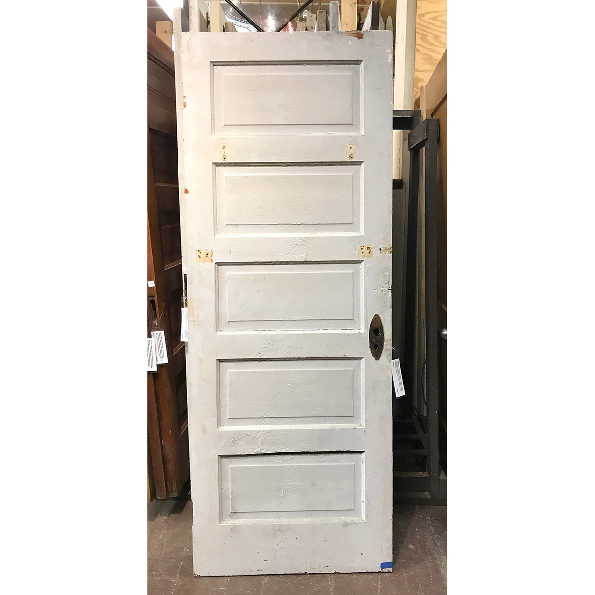 "D19123 - Antique Painted and Varnished Pine Five Horizontal Panel Interior Door 29-3/4"" x 79-1/4"""