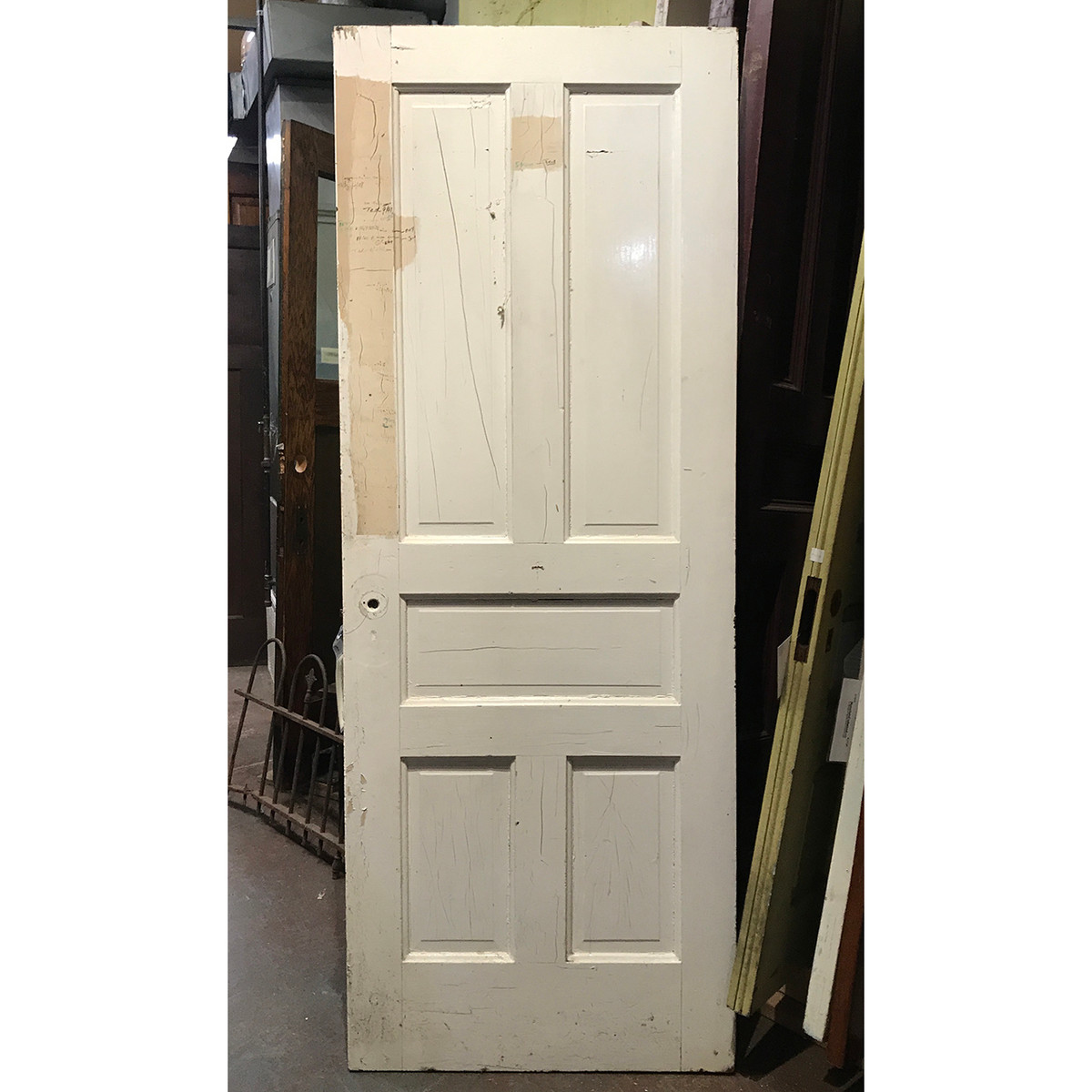 "D19125 - Antique Painted Pine Five Traditional Raised Panel Interior Door 30"" x 79-1/4"""