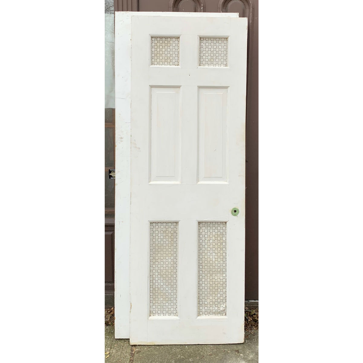 "D19132 - Antique Georgian Six Raised Panel Interior Door 27-3/4"" x 77-3/4"""