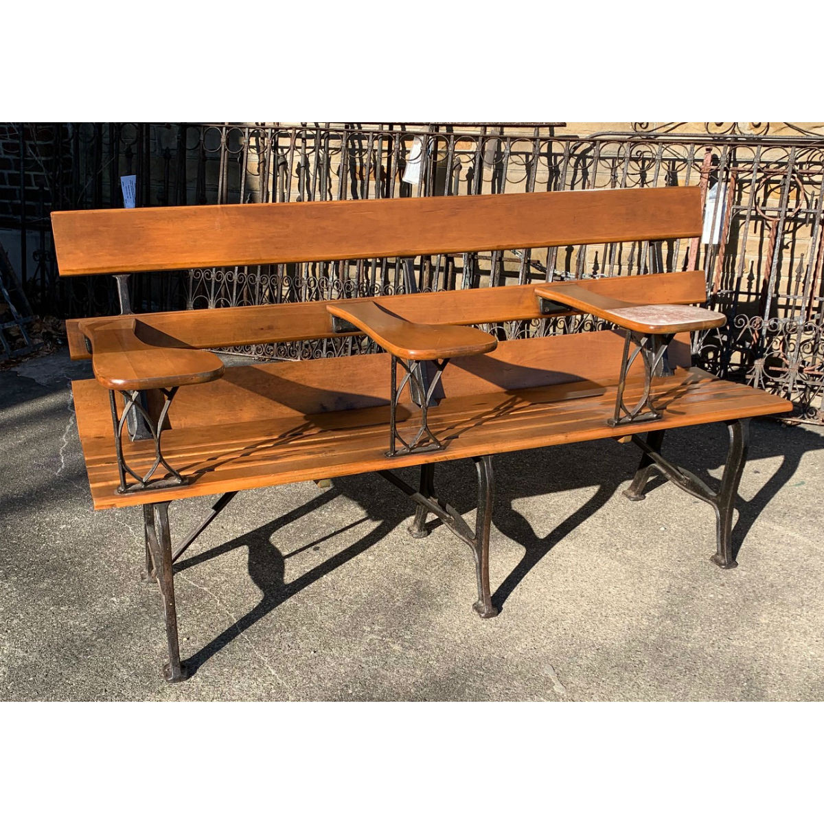 F19198 - Antique Revival Period Maple School Bench