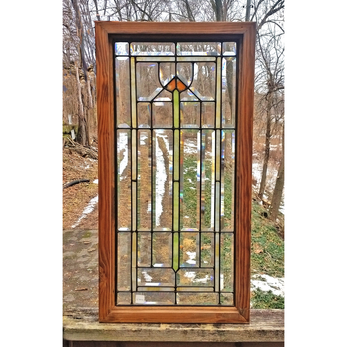 G20012  - Antique Stained and Beveled Glass Window