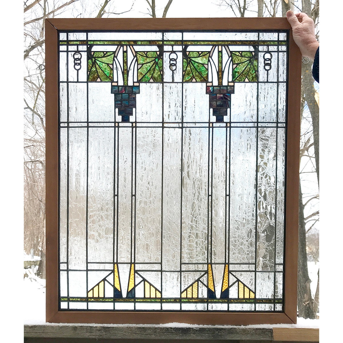 G20014 - Antique Prairie Style Stained & Textured Glass Window